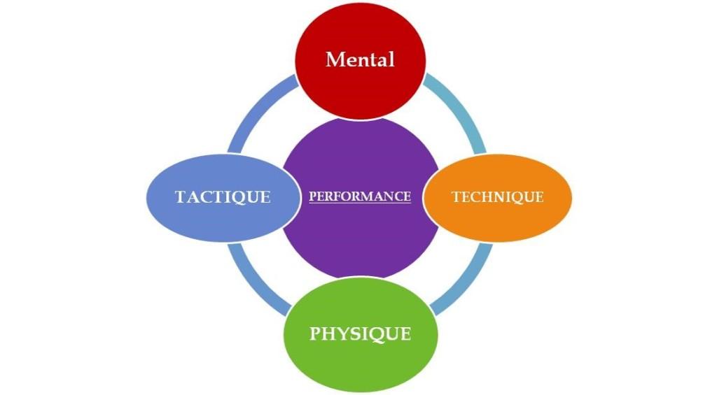 Schema des piliers de la performance qui sont la tactique, le physique, le technique et le mental.